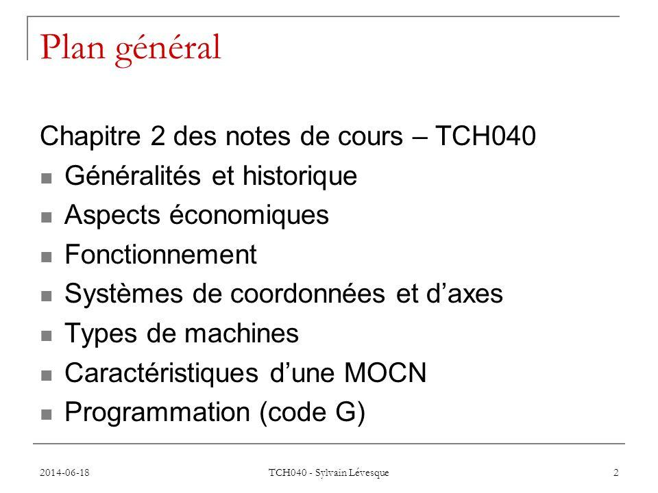 Plan général Chapitre 2 des notes de cours – TCH040