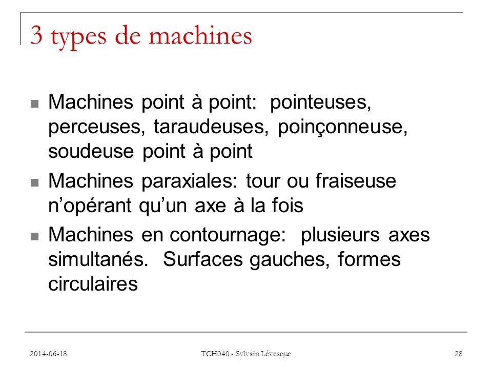 3 types de machines Machines point à point: pointeuses, perceuses, taraudeuses, poinçonneuse, soudeuse point à point.