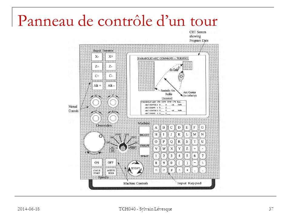 Panneau de contrôle d'un tour