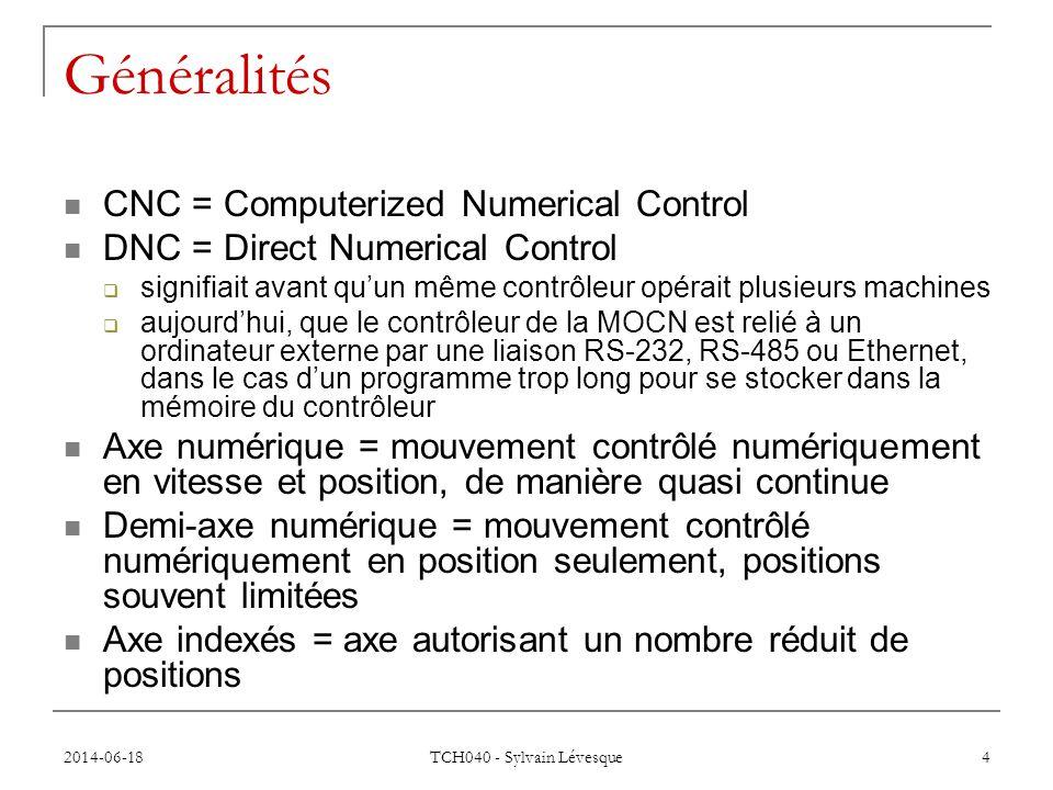 Généralités CNC = Computerized Numerical Control