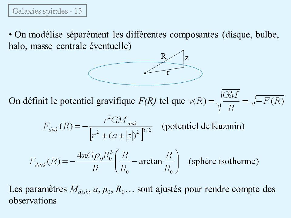On définit le potentiel gravifique F(R) tel que