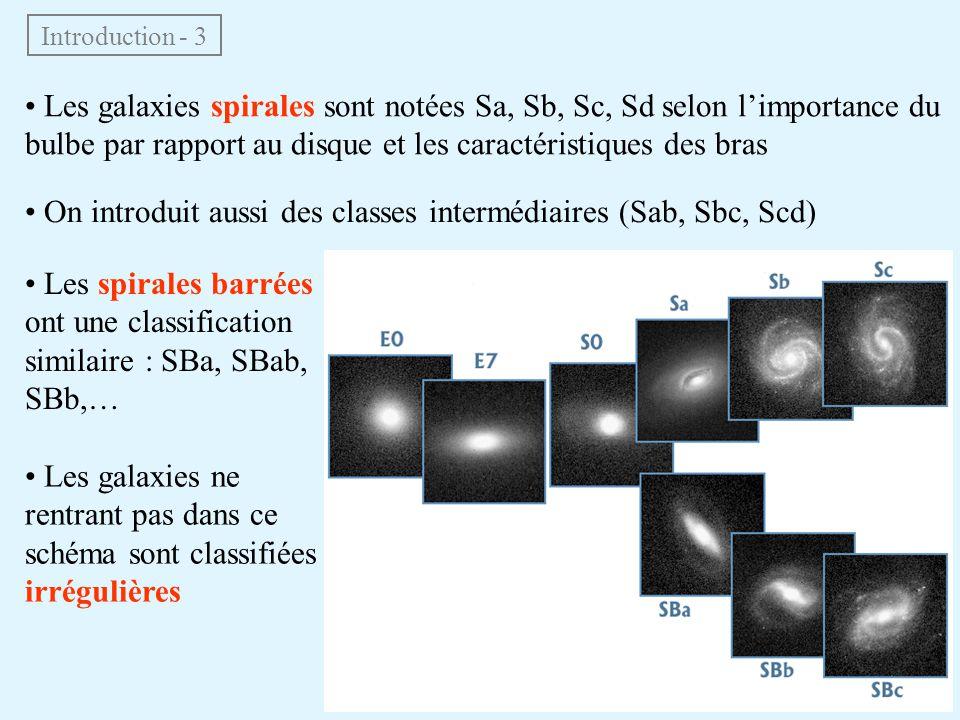 • On introduit aussi des classes intermédiaires (Sab, Sbc, Scd)