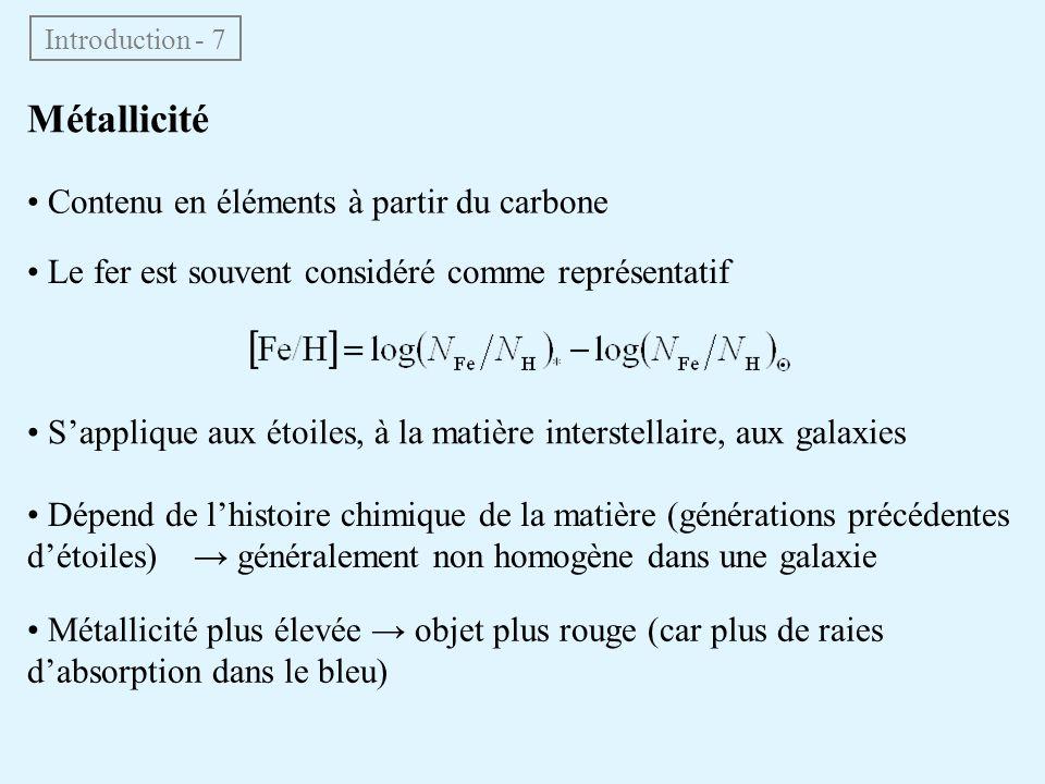 Métallicité • Contenu en éléments à partir du carbone