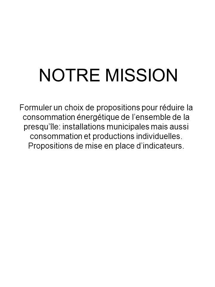 NOTRE MISSION Formuler un choix de propositions pour réduire la