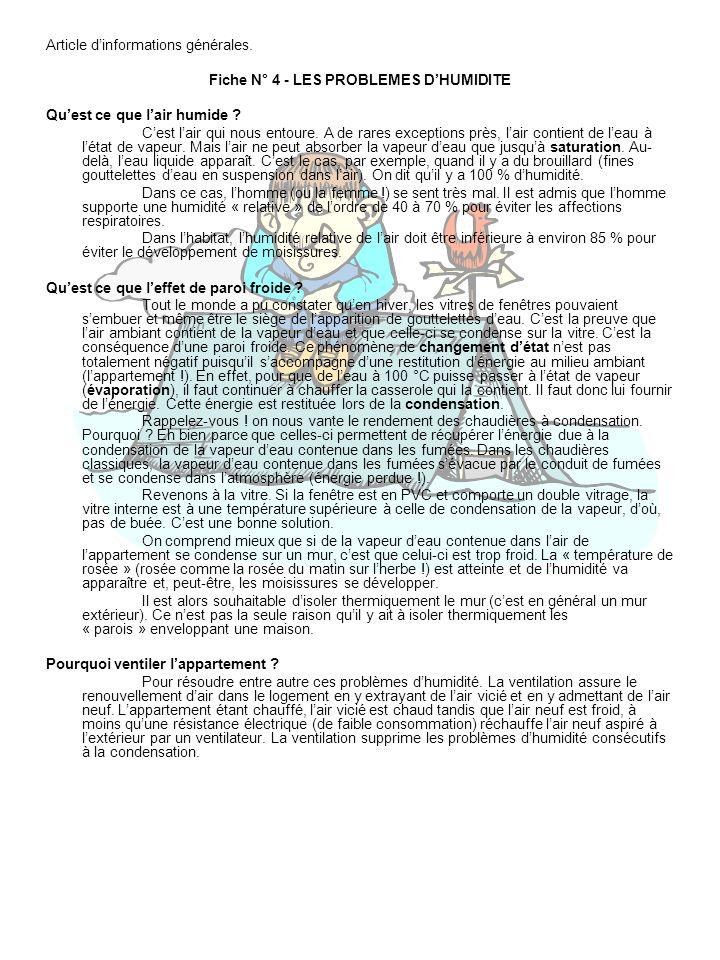 Fiche N° 4 - LES PROBLEMES D'HUMIDITE