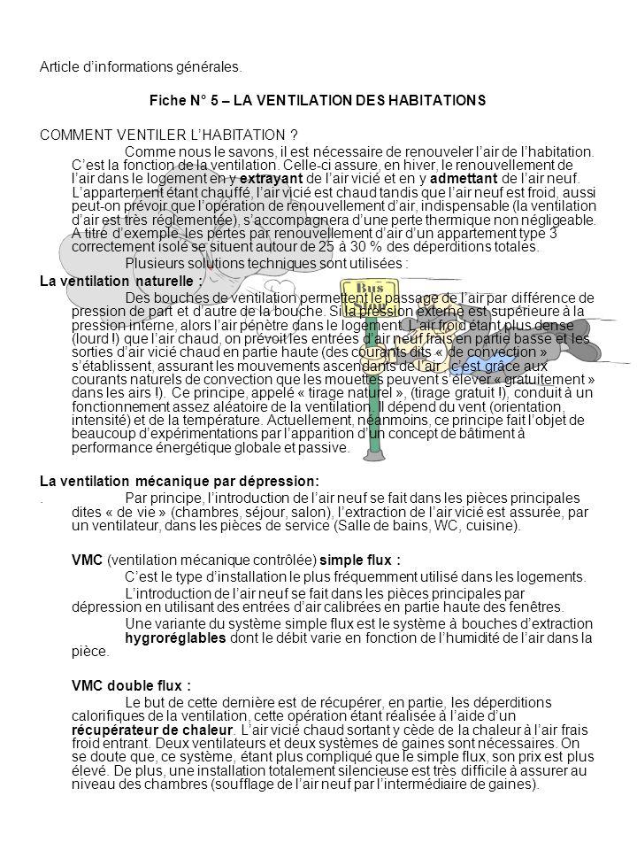 Fiche N° 5 – LA VENTILATION DES HABITATIONS