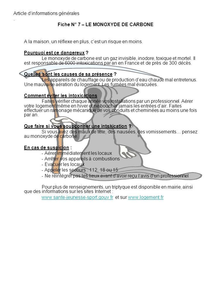 Fiche N° 7 – LE MONOXYDE DE CARBONE