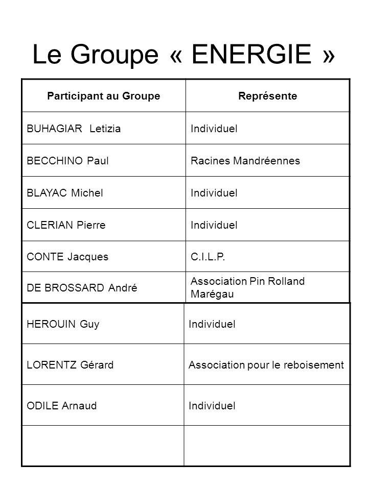 Le Groupe « ENERGIE » Participant au Groupe Représente