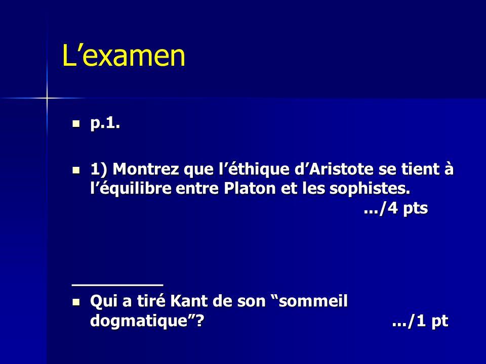 L'examen p.1. 1) Montrez que l'éthique d'Aristote se tient à l'équilibre entre Platon et les sophistes. .../4 pts.