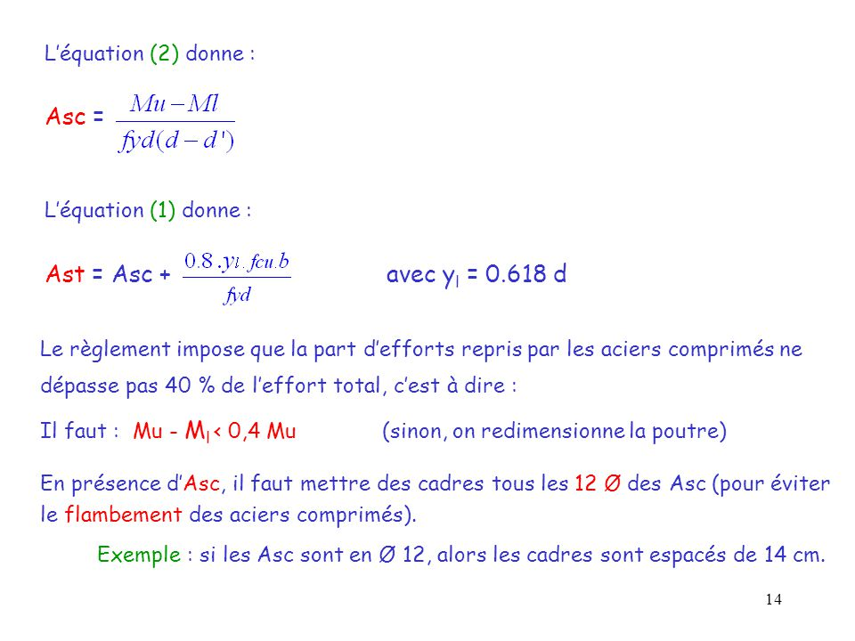 Asc = Ast = Asc + avec yl = 0.618 d L'équation (2) donne :