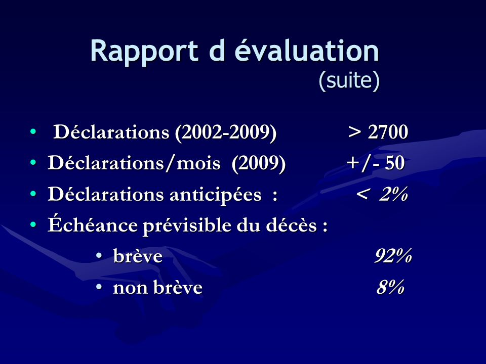Rapport d évaluation (suite)
