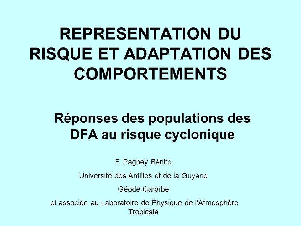 REPRESENTATION DU RISQUE ET ADAPTATION DES COMPORTEMENTS