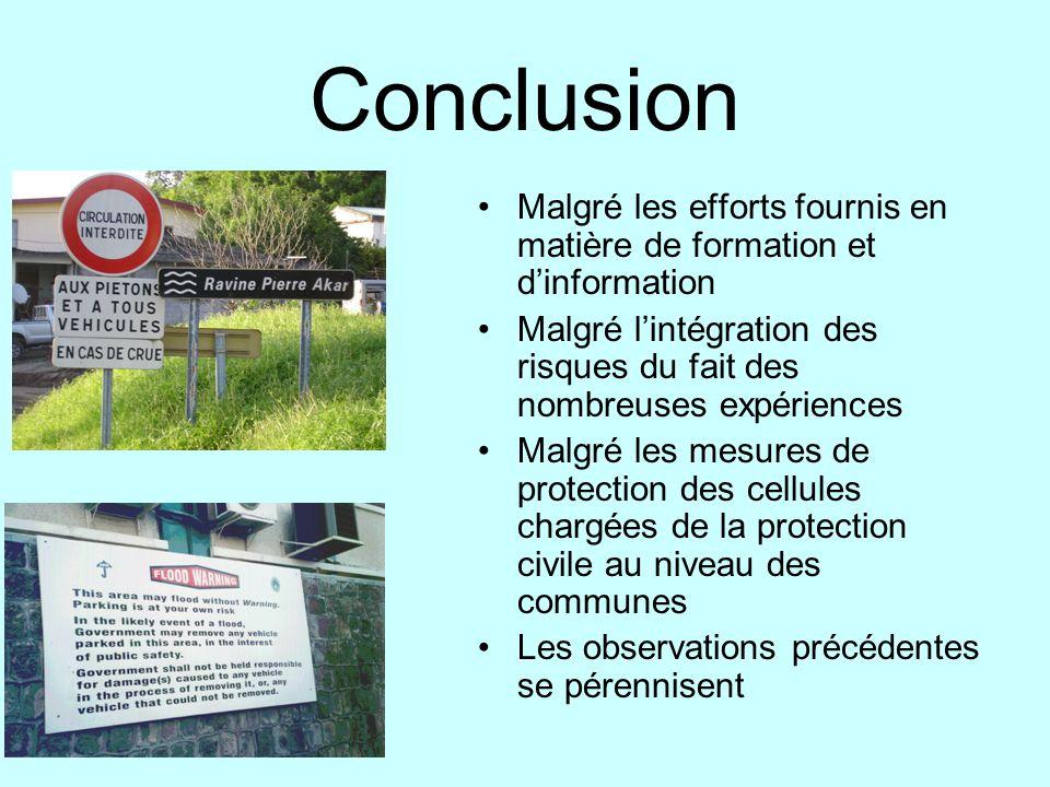 ConclusionMalgré les efforts fournis en matière de formation et d'information. Malgré l'intégration des risques du fait des nombreuses expériences.