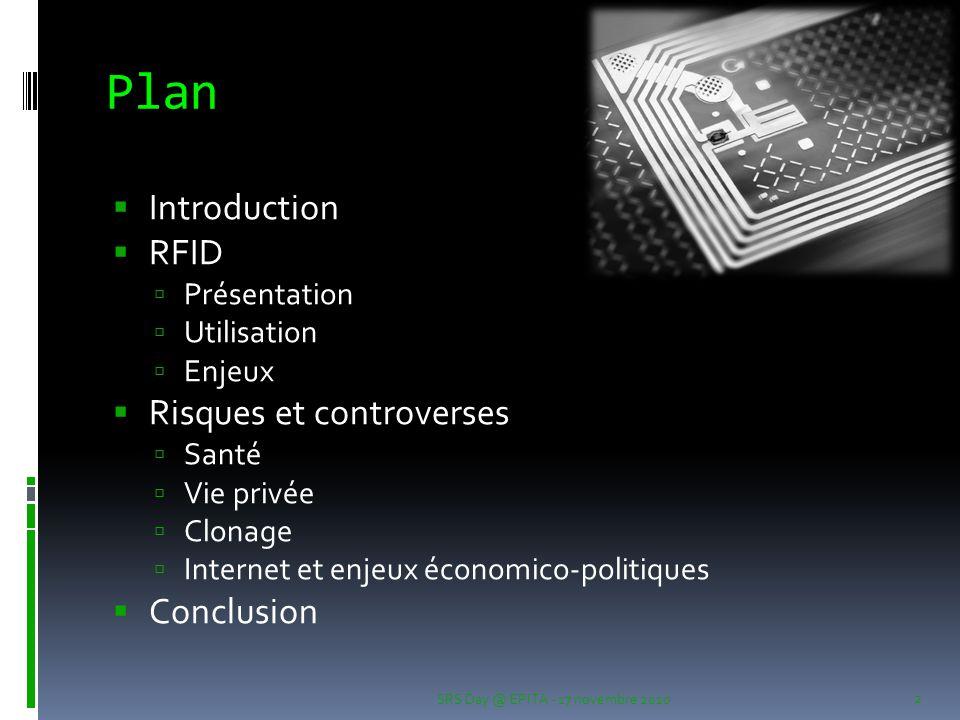 Plan Introduction RFID Risques et controverses Conclusion Présentation