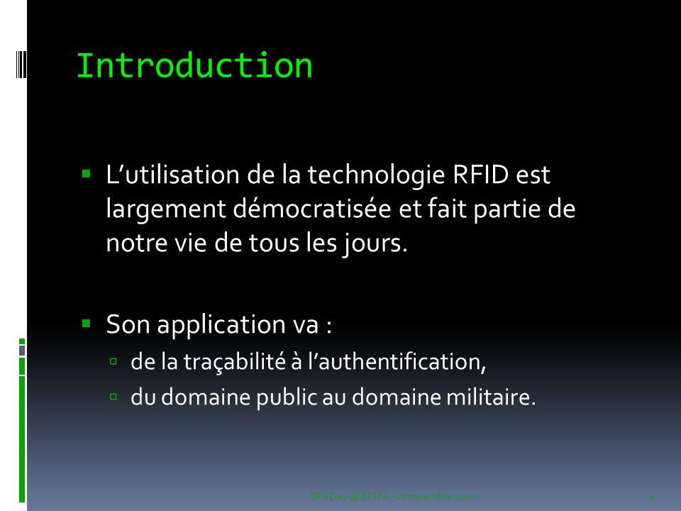 Introduction L'utilisation de la technologie RFID est largement démocratisée et fait partie de notre vie de tous les jours.