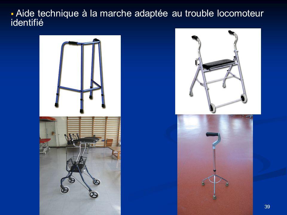 Aide technique à la marche adaptée au trouble locomoteur identifié