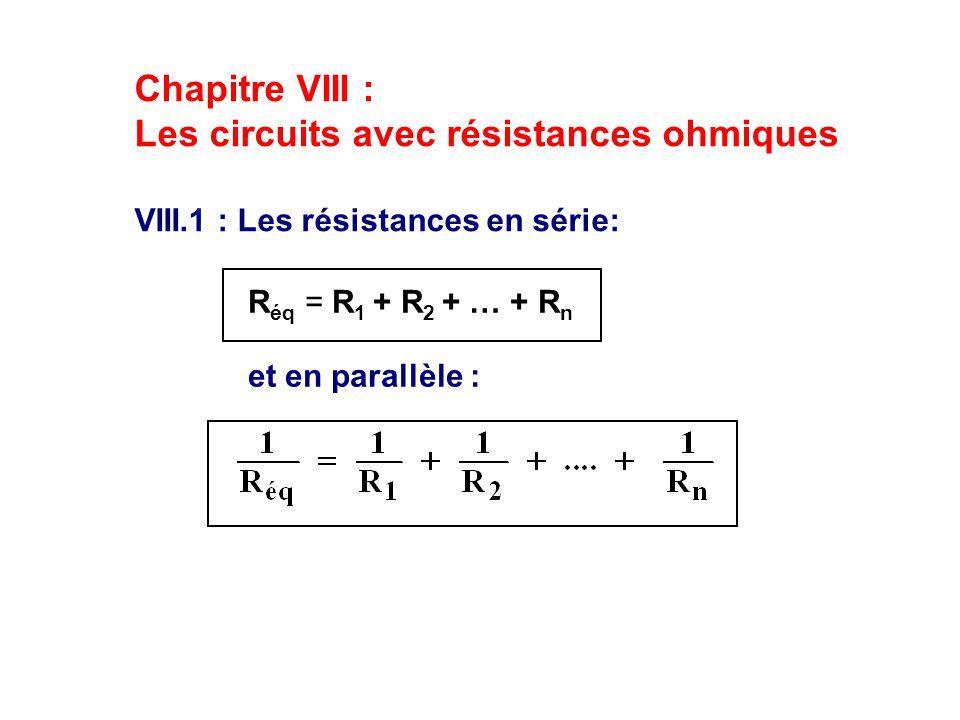 Les circuits avec résistances ohmiques