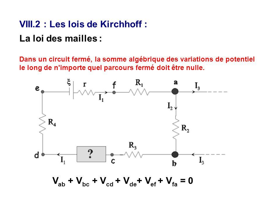 VIII.2 : Les lois de Kirchhoff :