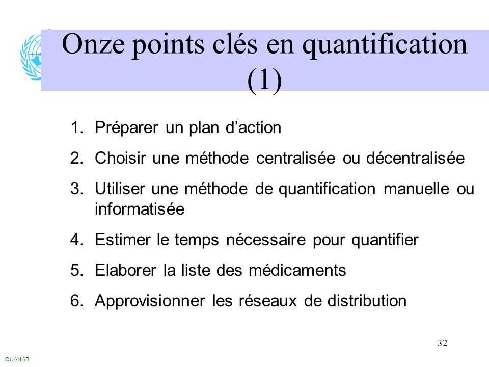Onze points clés en quantification (1)
