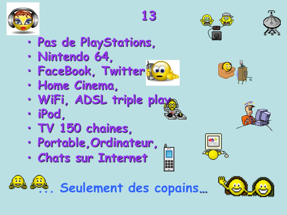 13 Pas de PlayStations, Nintendo 64, FaceBook, Twitter Home Cinema,