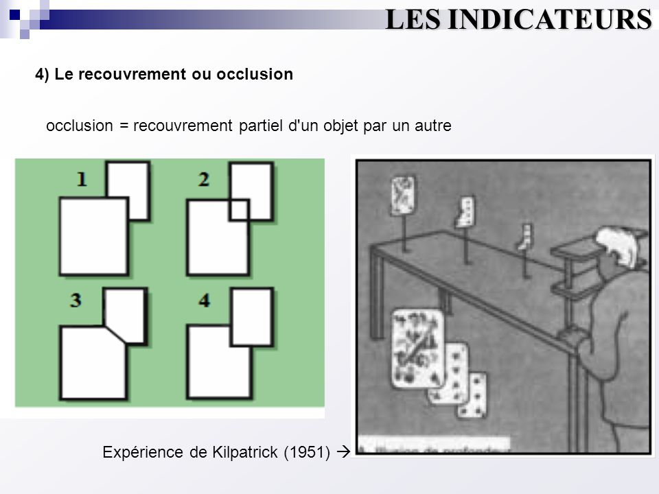 LES INDICATEURS 4) Le recouvrement ou occlusion