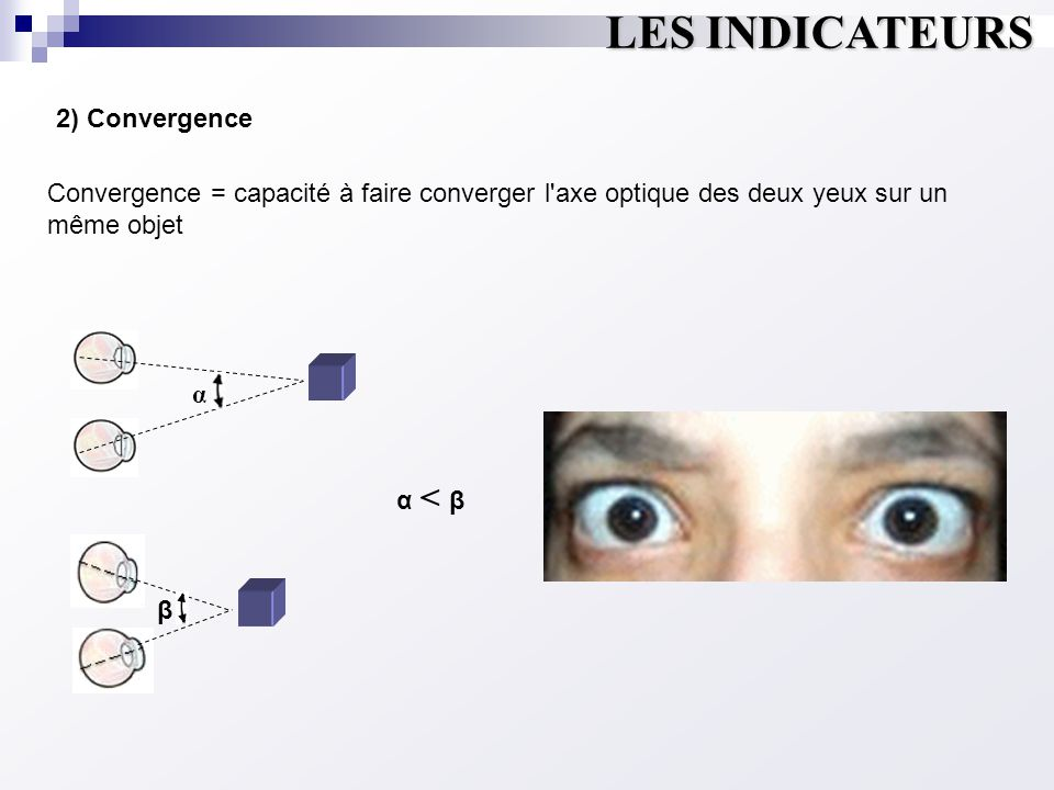 LES INDICATEURS α 2) Convergence