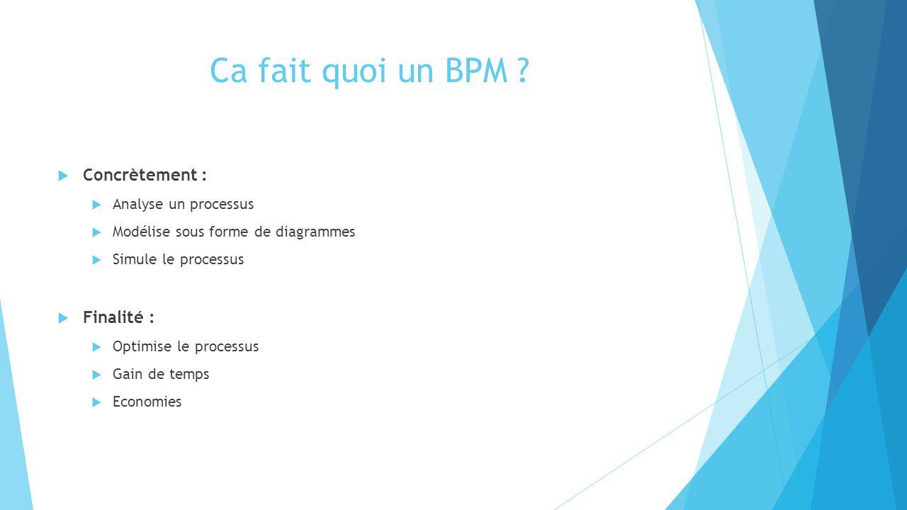 Ca fait quoi un BPM Concrètement : Finalité : Analyse un processus