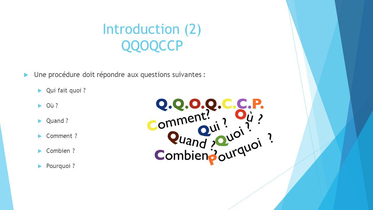 Introduction (2) QQOQCCP