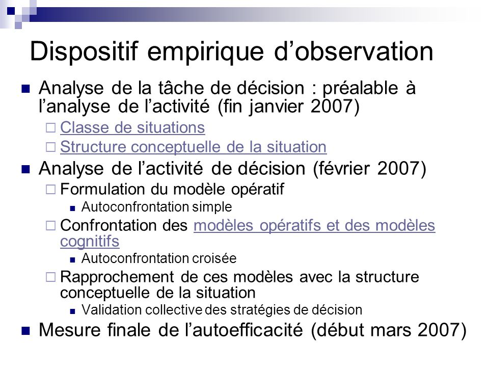Dispositif empirique d'observation