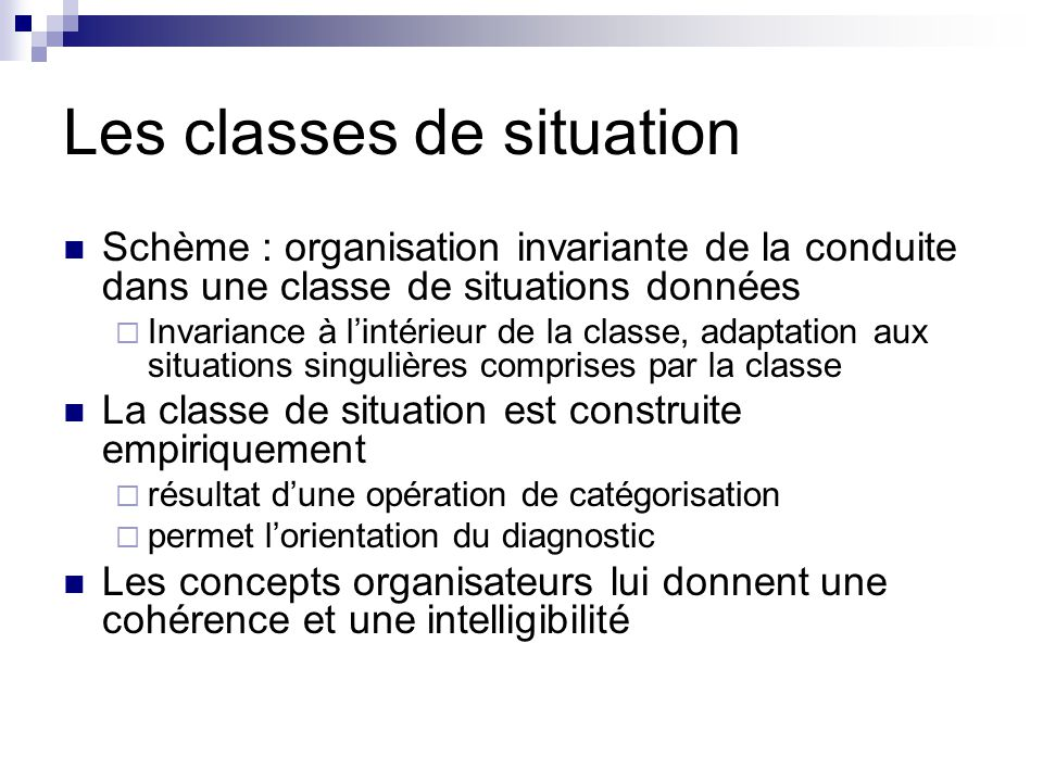 Les classes de situation