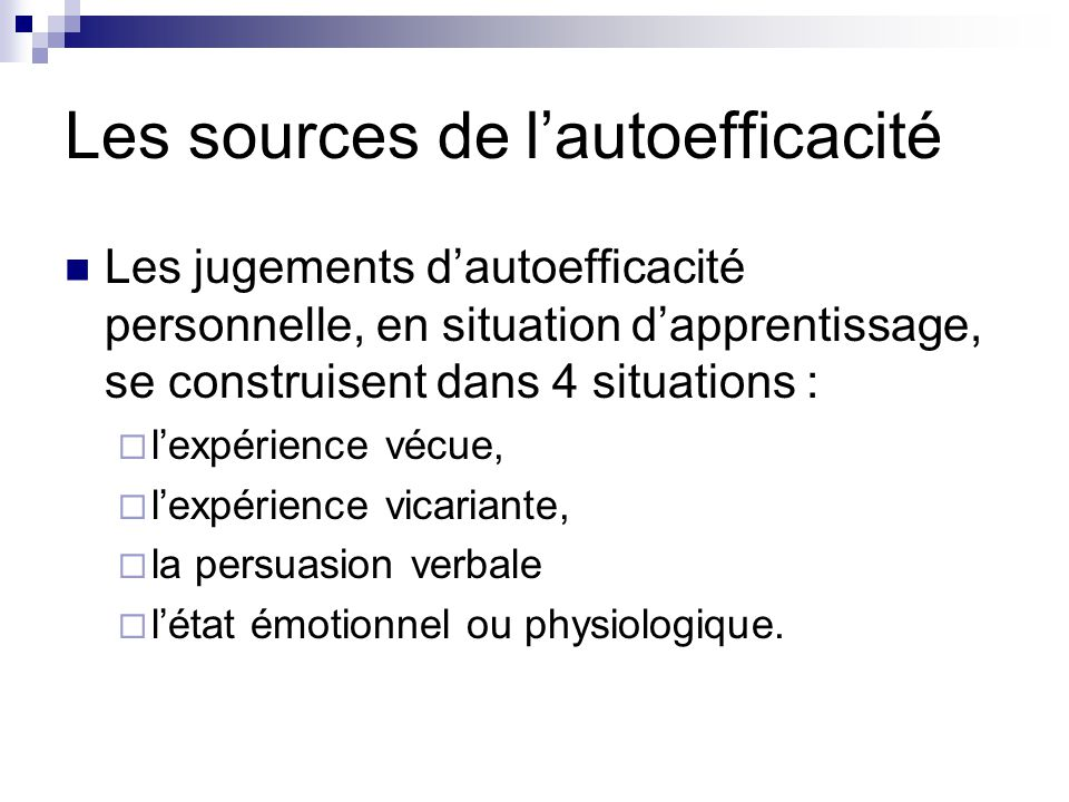 Les sources de l'autoefficacité