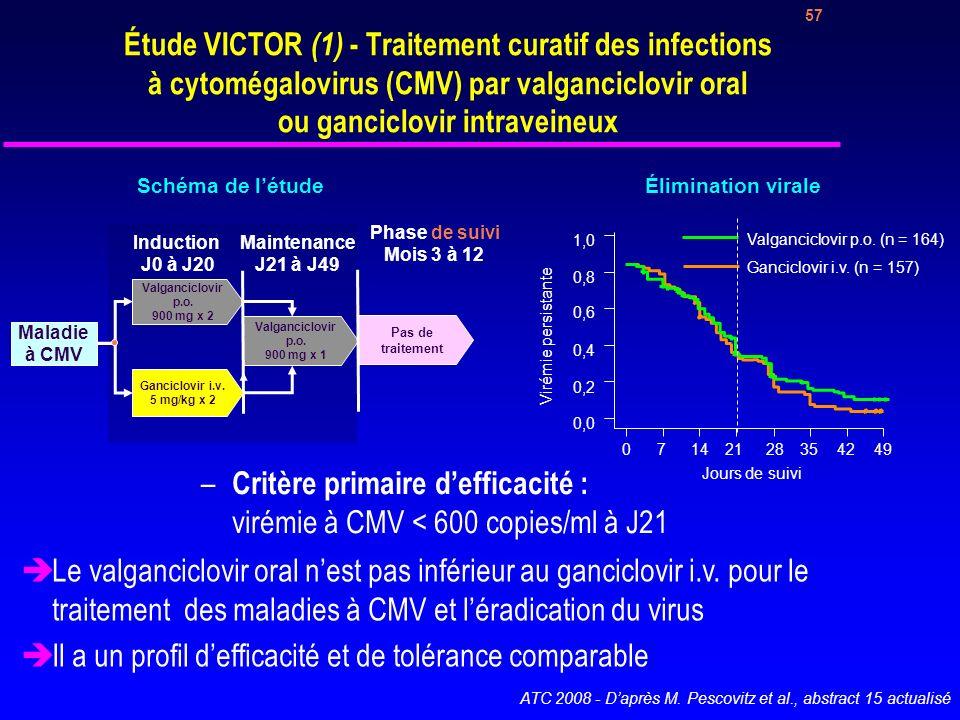 Critère primaire d'efficacité : virémie à CMV < 600 copies/ml à J21