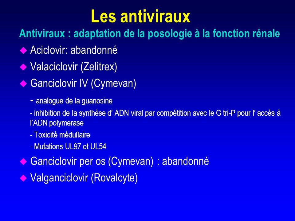 Les antivirauxAntiviraux : adaptation de la posologie à la fonction rénale. Aciclovir: abandonné. Valaciclovir (Zelitrex)