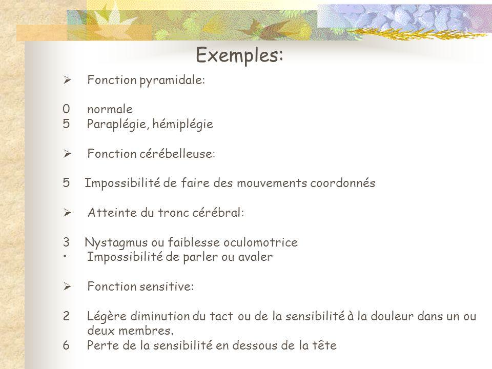 Exemples: Fonction pyramidale: 0 normale Paraplégie, hémiplégie