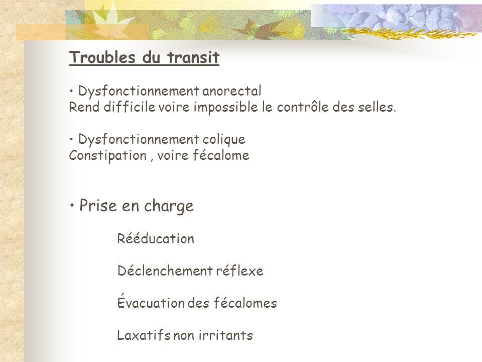 Troubles du transit Prise en charge Dysfonctionnement anorectal