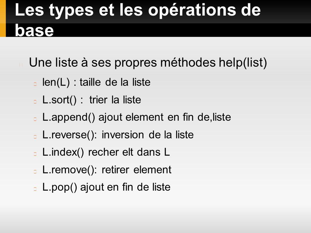 Les types et les opérations de base