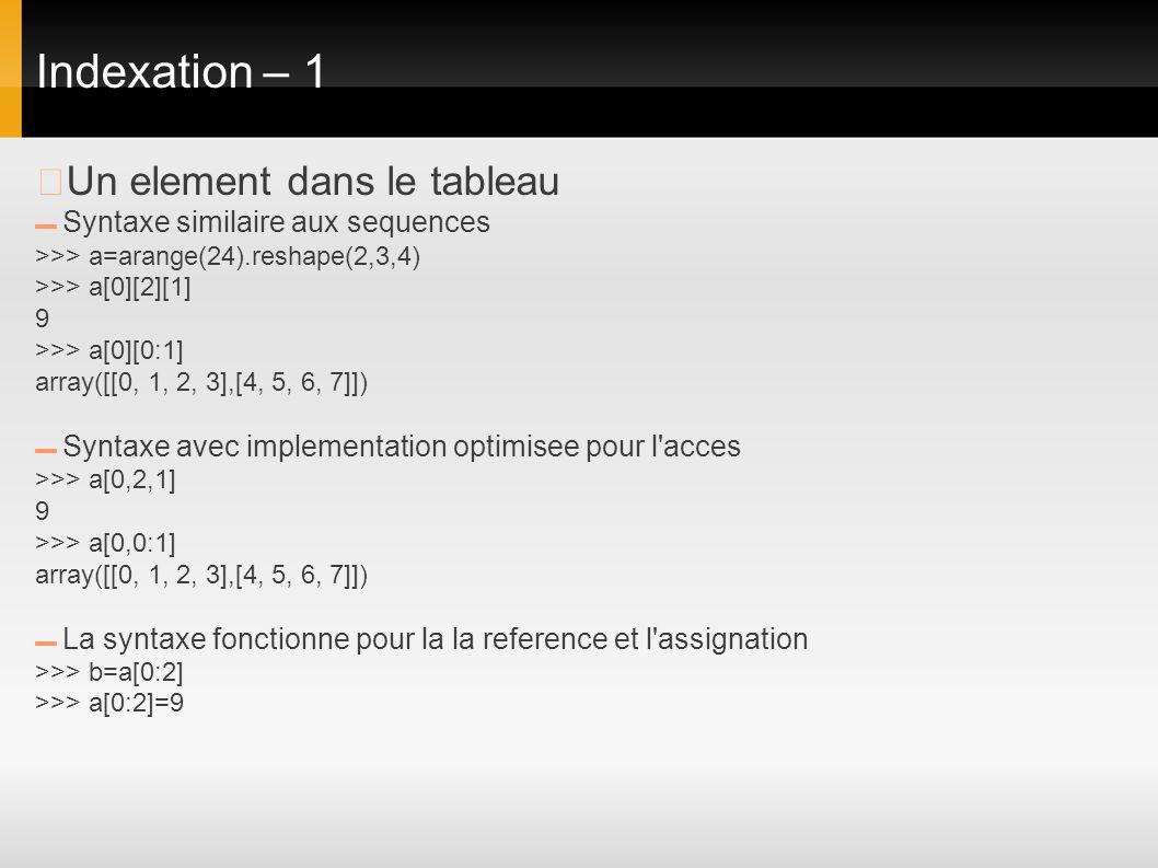 Indexation – 1 ▶Un element dans le tableau