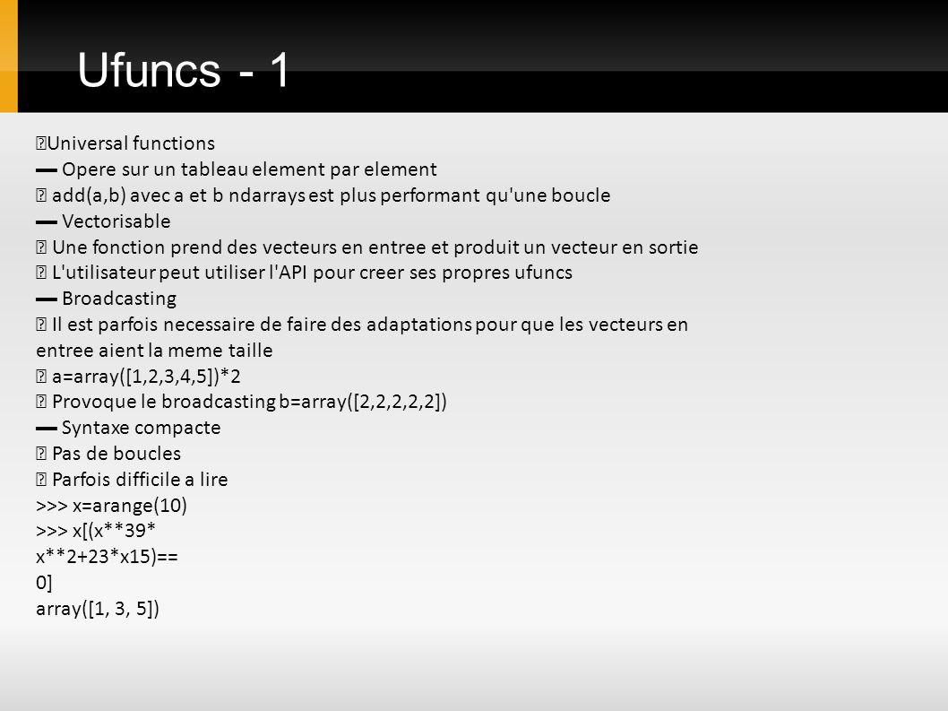 Ufuncs - 1 ▶Universal functions