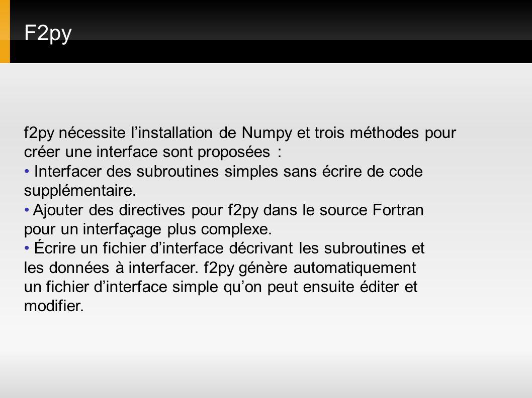 F2py f2py nécessite l'installation de Numpy et trois méthodes pour