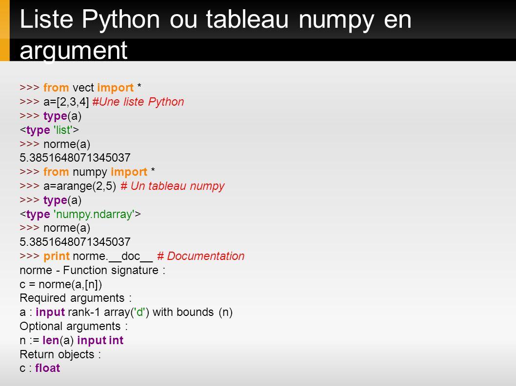 Liste Python ou tableau numpy en argument