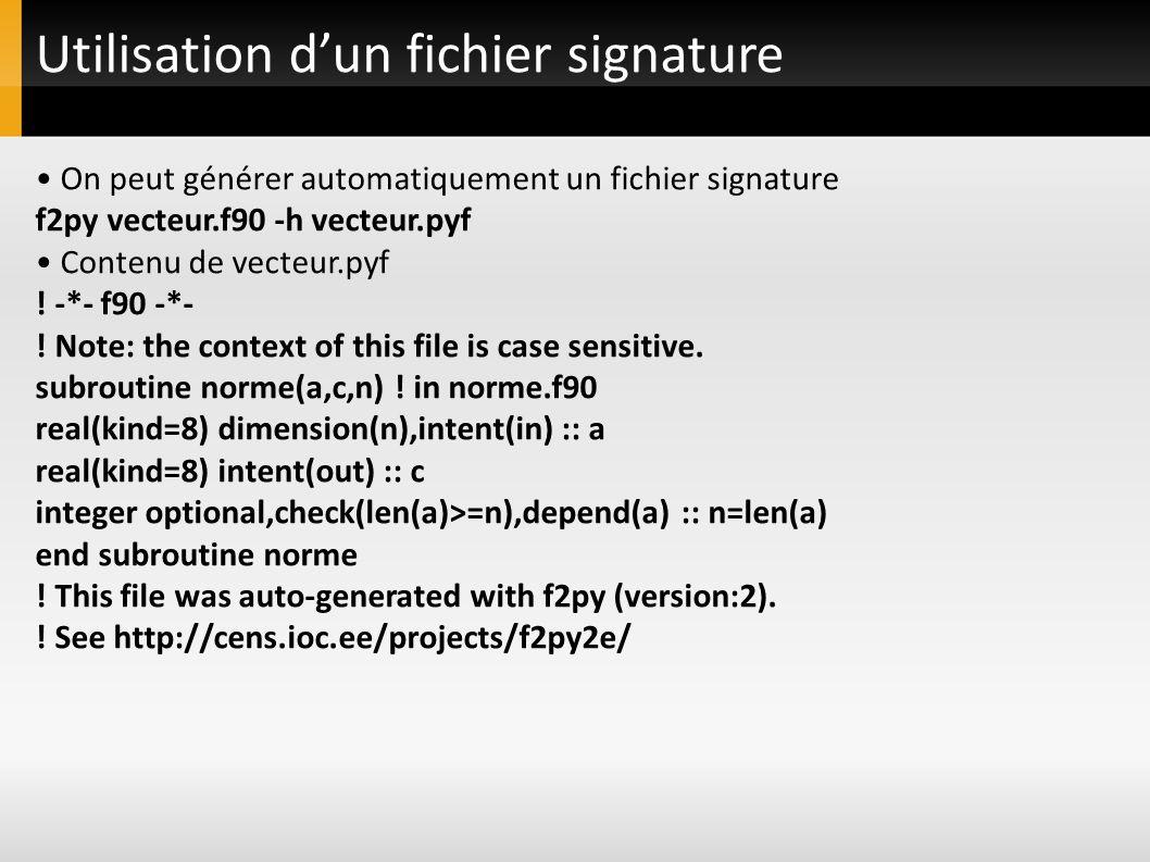 Utilisation d'un fichier signature