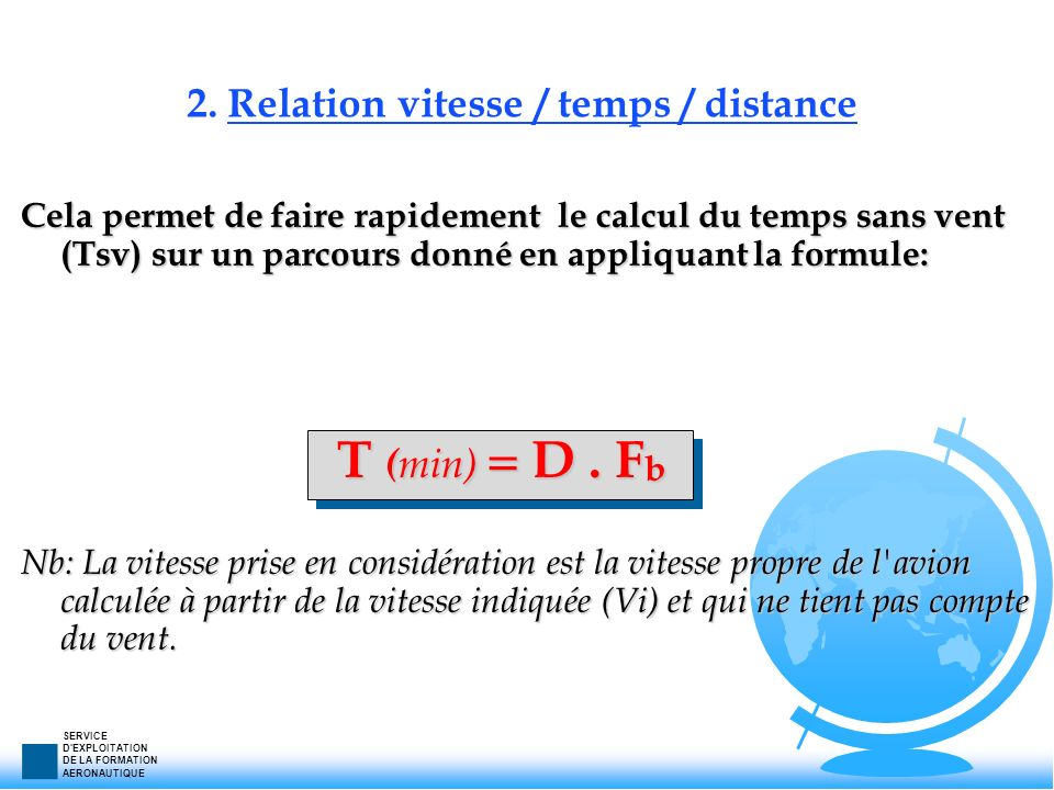 2. Relation vitesse / temps / distance