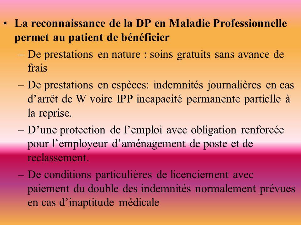 La reconnaissance de la DP en Maladie Professionnelle permet au patient de bénéficier