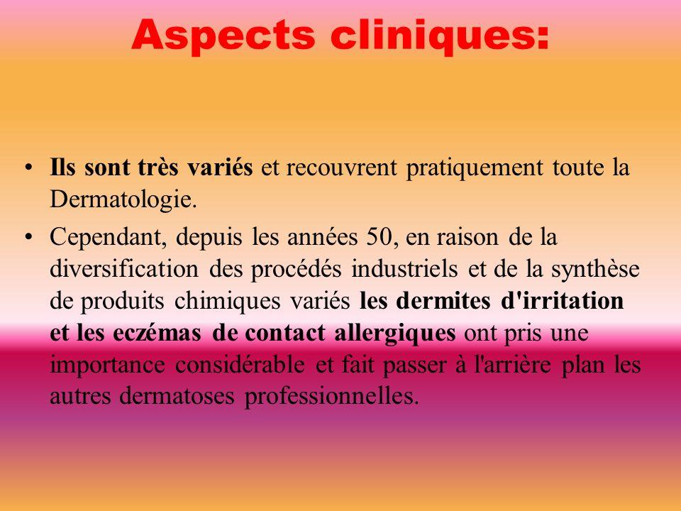 Aspects cliniques: Ils sont très variés et recouvrent pratiquement toute la Dermatologie.