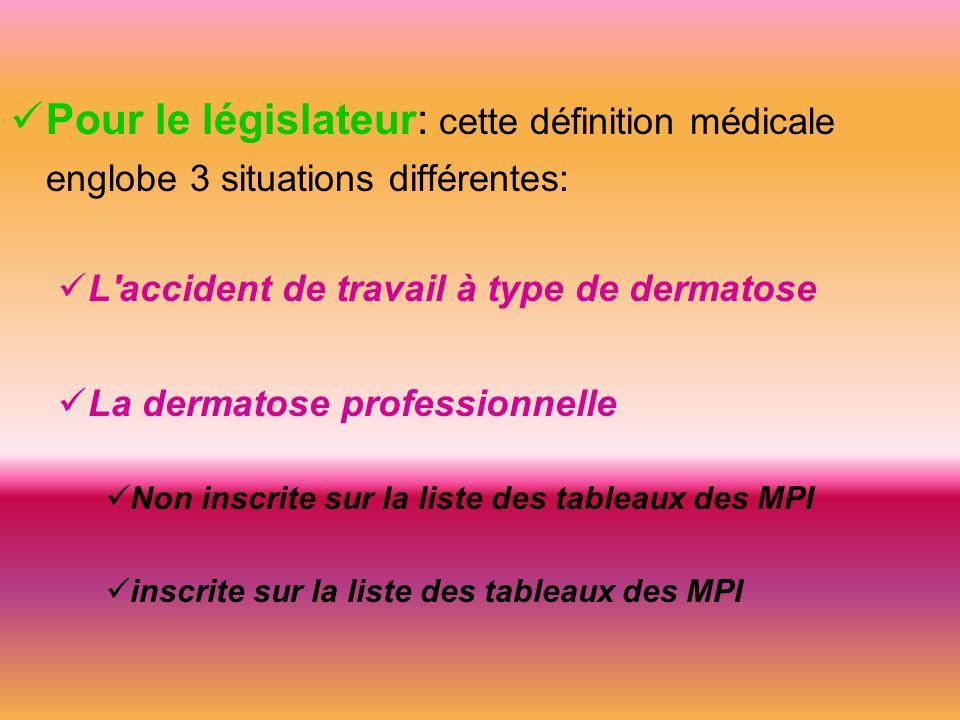 Pour le législateur: cette définition médicale englobe 3 situations différentes: