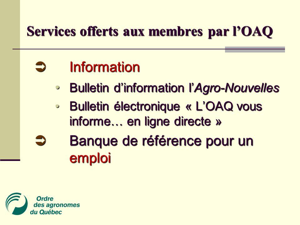 Services offerts aux membres par l'OAQ