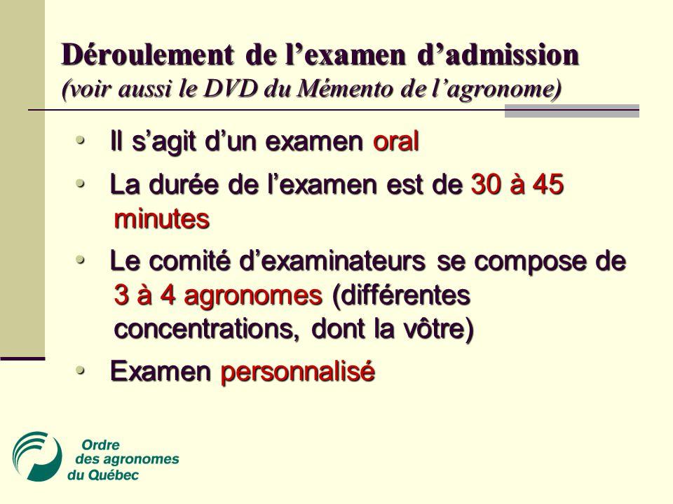 Déroulement de l'examen d'admission (voir aussi le DVD du Mémento de l'agronome)