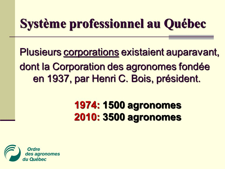 Système professionnel au Québec