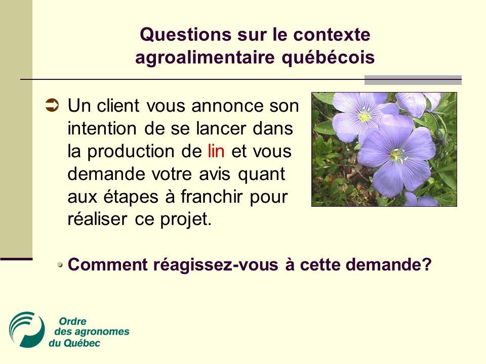 Questions sur le contexte agroalimentaire québécois