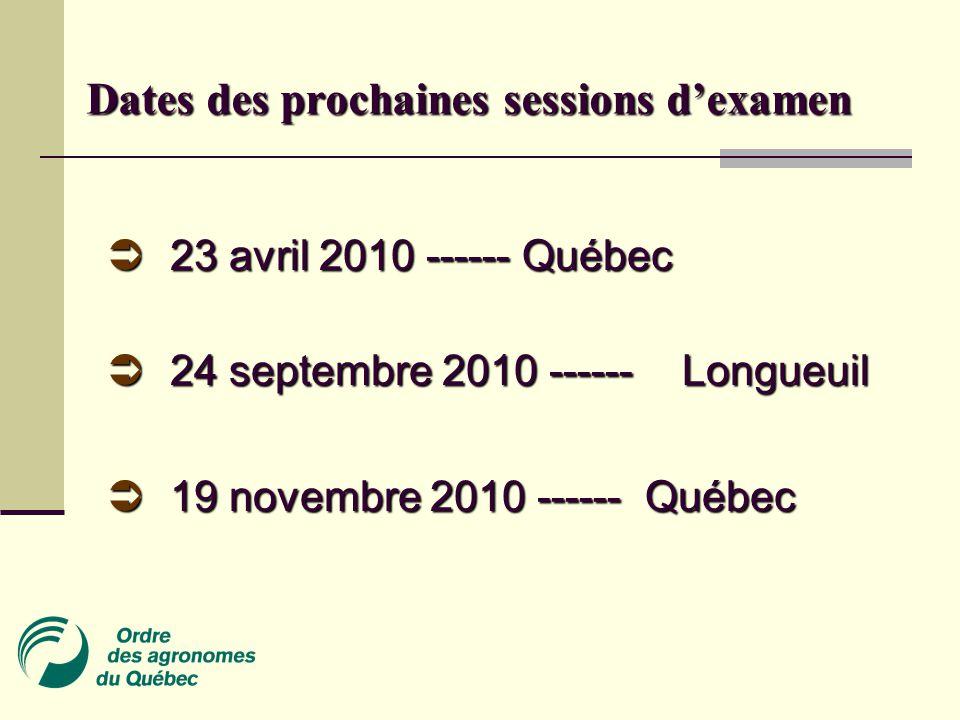 Dates des prochaines sessions d'examen